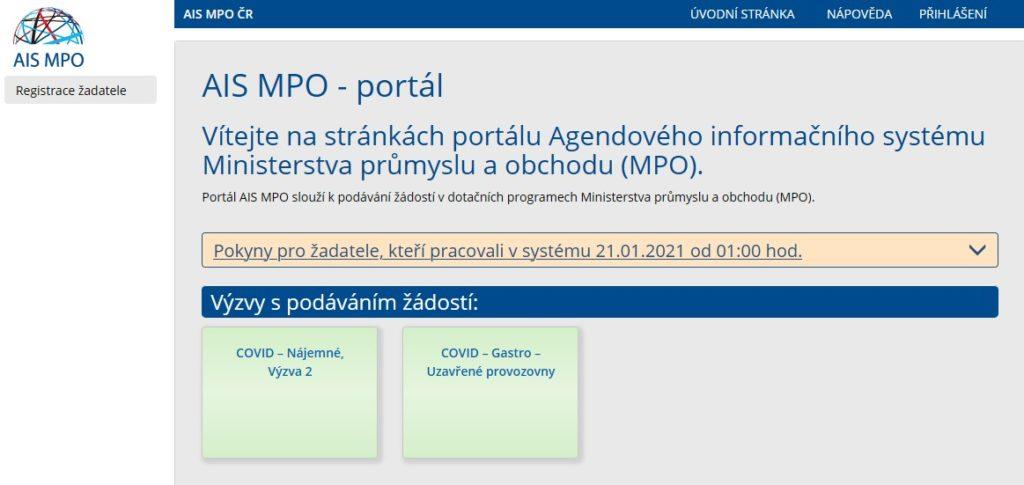 MPO nabídka na vyplnění žádostí pro program Covid Gastro